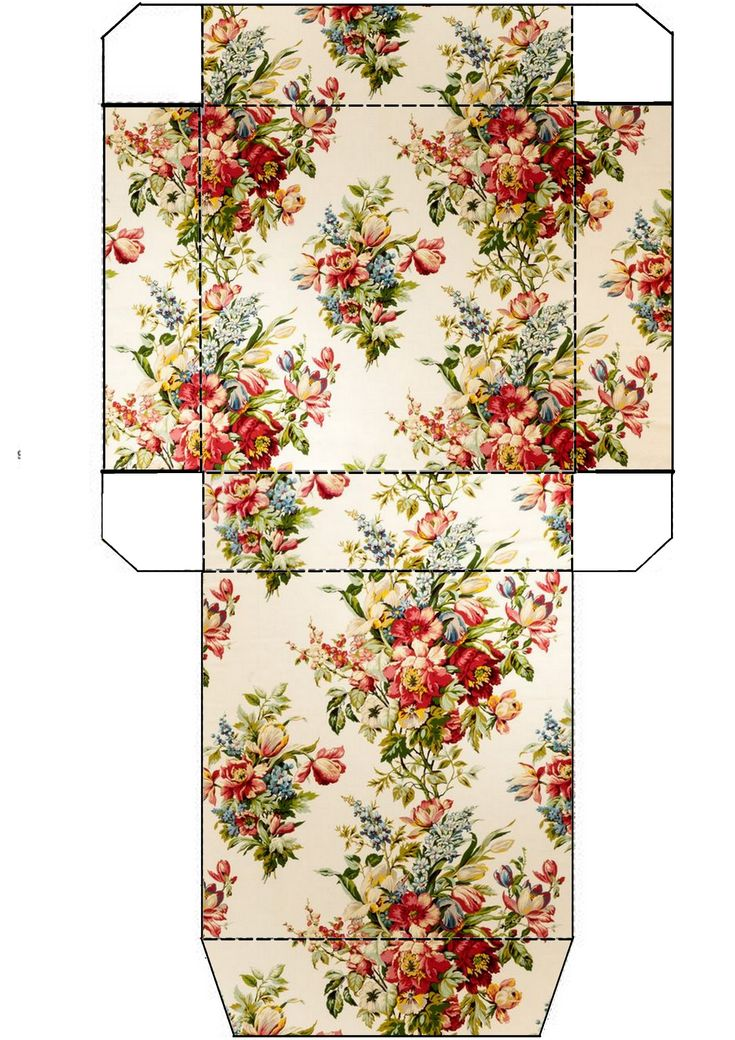 Pretty floral print box template.  Free printable.  Photo only.