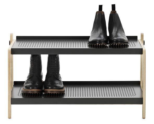 Designer shoe rack with metal shelves and solid ash frame