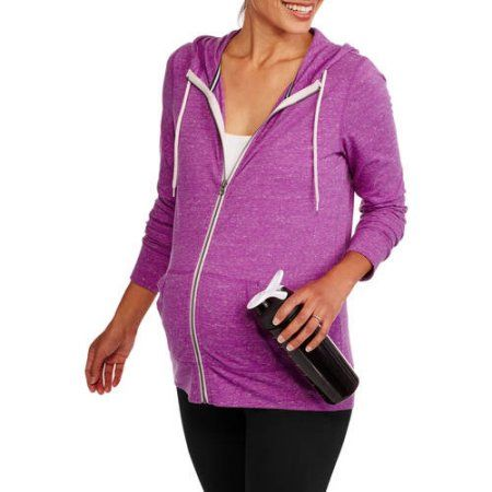 Danskin Now Maternity Zip-Up Hoodie, Size: XL, Blue