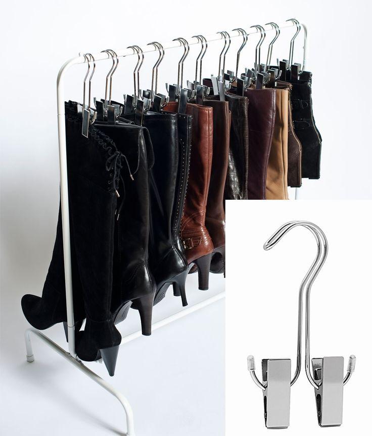 Silver boot hanger. Shoe organization.
