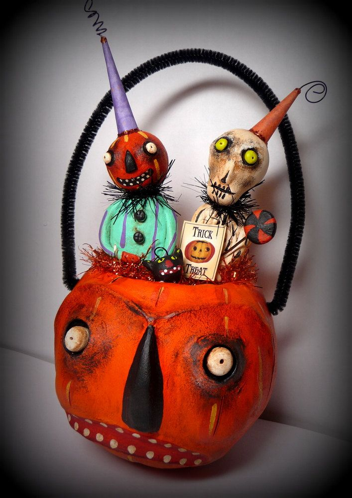 Vintage Style Grouchy Halloween Bucket with Smiling Jack and his Boney Friend Folk Art Decoration