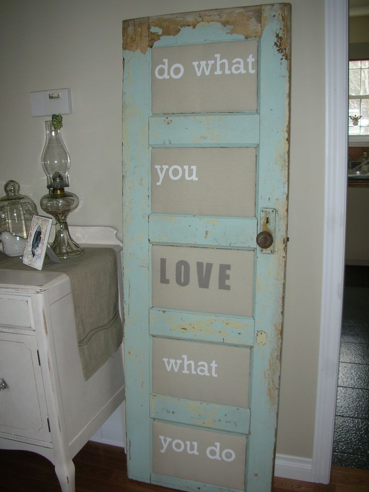 Old door, with panels made from drop cloth and fabric paint.