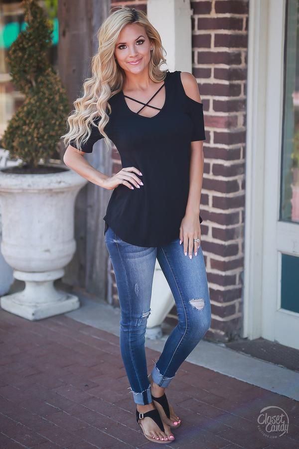 This amazing top has the best of both worlds with cold shoulder and criss-cross detail! Not to mention just how comfortable this top is! Short sleeve, cold shoulder top with criss-cross detail on v-ne