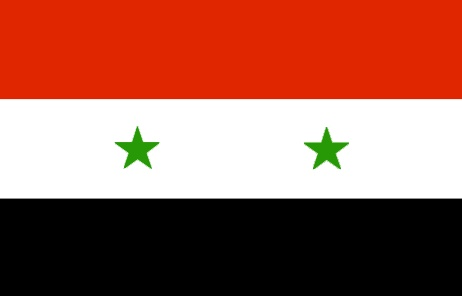 Syria Flag ~ The flag of Syria was officially adopted on May 29, 1980.           Syria's flag, inspired by the French Tricolore, uses the Pan-Arab colors of green, red, white and black. The two stars -  depending on the point-of-view - either represent Syria and Egypt, or Syria and Iraq.