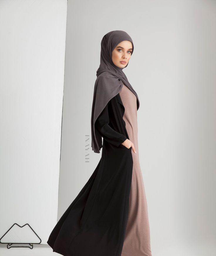 INAYAH - Black Waterfall Coat, Pebble Slip Dress, Dark Grey Rayon Blend Hijab