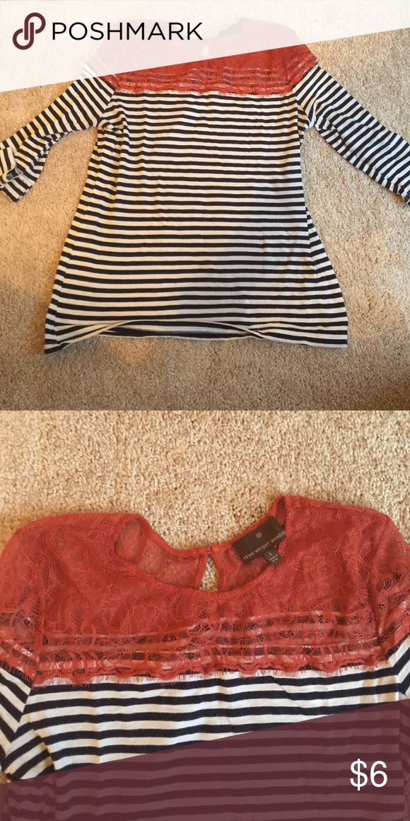 3/4 sleeve top Navy and white stripe with rust colored lace on top. Size large. Fenn Wright Mason Tops Tunics