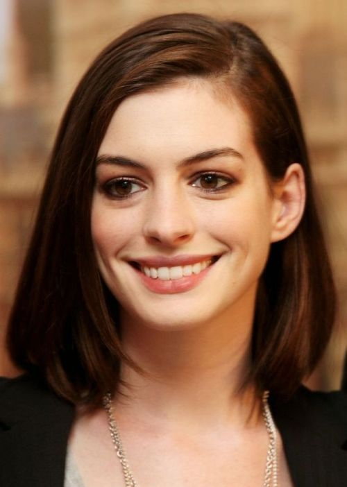 Anne Hathaway Bob Hairstyle: Long, ladylike bob -Top 100 Bob Hairstyles 2014 | herinterest.com