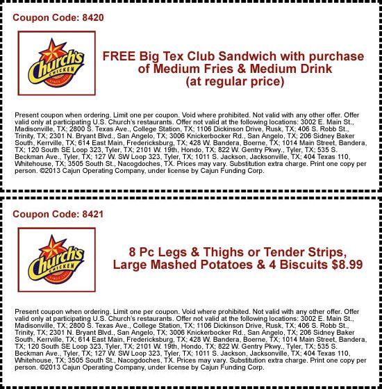 churchs chicken coupon zone