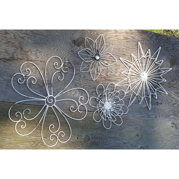 Wall Art Metal Wall Art Flower Wall Art Flower Decor Flower Wall Decor... ($70) ❤ liked on Polyvore featuring home, home decor, wall art, grey, home & living, home décor, wall décor, metal flower wall hanging, flower home decor and grey home decor