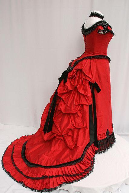 Red SIlk Victorian Bustle Ball Gown by Sally C Designs by British Steampunk, via Flickr