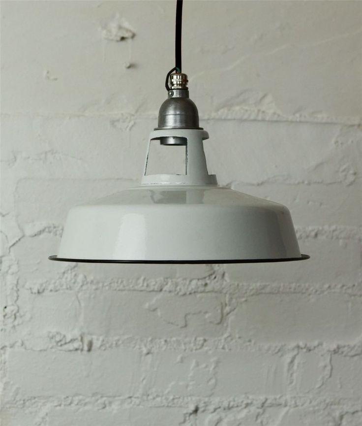 PLAFONNIER EMAIL BLANC | Vintage industriel | câble en tissu de couleur
