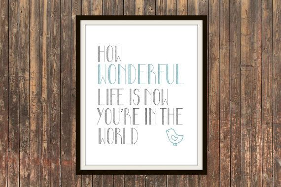 INSTANT DOWNLOAD How Wonderful Life Is Now You're In The World print. Modern nursery decor for baby boys or girls! Great gift idea on Etsy, $5.71 AUD