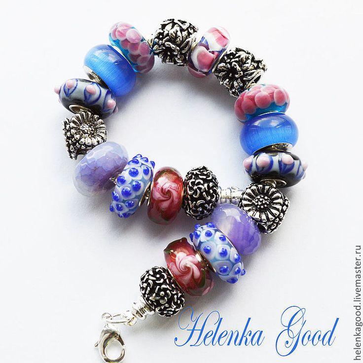 Купить Синий с розовым 95 Браслет Пандора - синий, розовый, браслет пандора, пандора