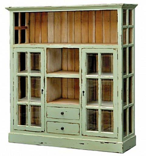 mint green window cabinet - I like it better in white