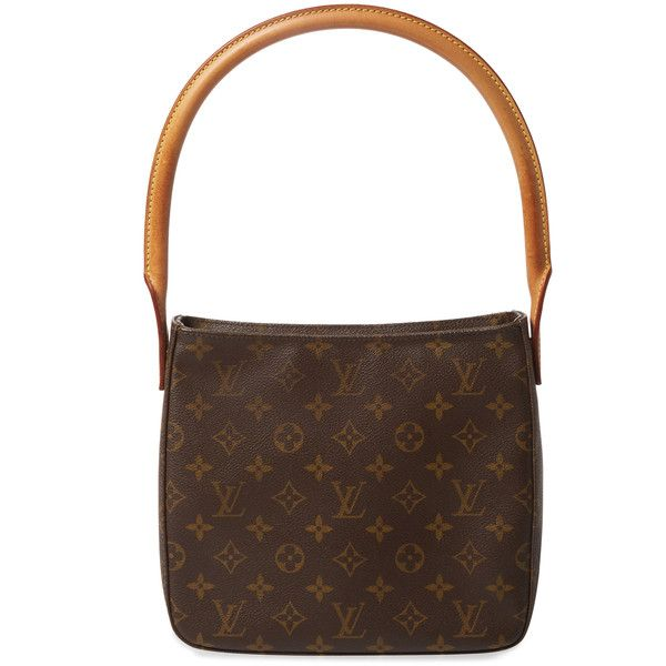 Louis Vuitton Women's Vintage Monogram Canvas Looping MM - Brown ($795) ❤ liked on Polyvore featuring bags, brown, brown canvas bag, vintage bags, louis vuitton, handle bag and brown handle bags