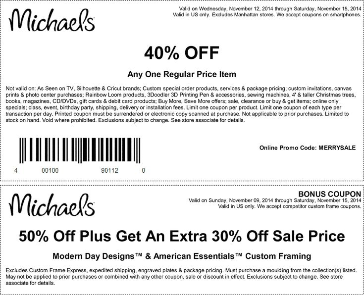 pinned november 12th 40 off a single item at michaels or online via promo code merrysale coupon via the coupons app the coupons app pinterest - Michaels Frames Coupons