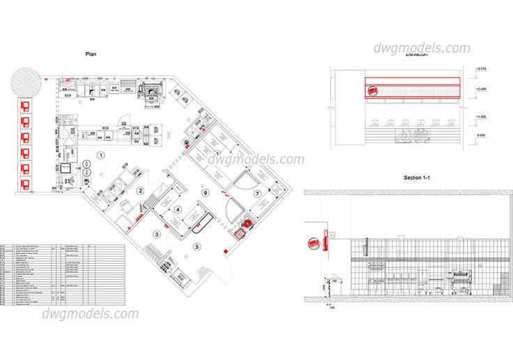 Facades of hotel - CAD Blocks, free dwg file BLOCKS Pinterest - fresh gym blueprint maker