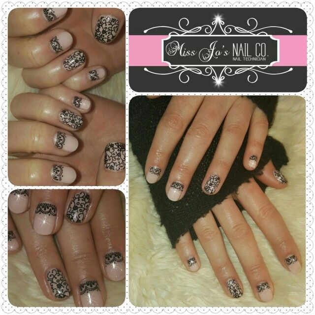 Gel polish nail art stamping lace back nude wedding guest nails