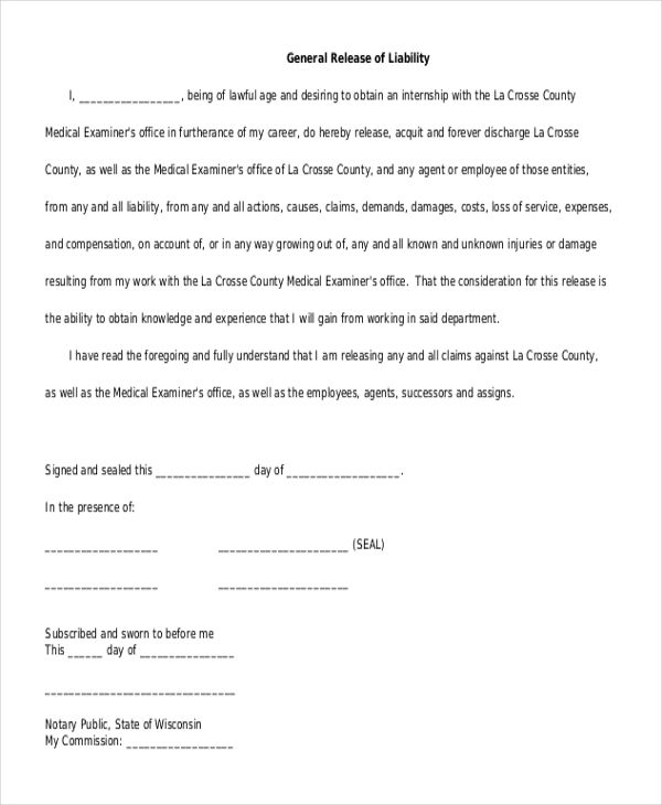Image result for general release of liability waiver for volunteers