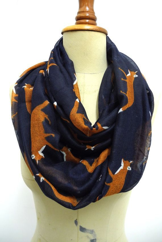 Fox Infinity scarf Fox Scarf Animal Print Scarf Circle scarf, Scarves, Christmas Gift Ideas For Her Women