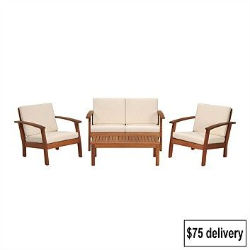 Briscoes - Coastal Classic Kingsbury 4 Piece Wooden Outdoor Furniture Setting