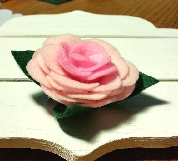 Felt pink rose brooch  Felt pink flower brooch  Handmade