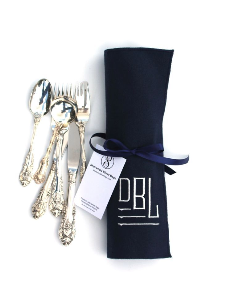 Wallace Sir Christopher sterling silver flatware, stored in an Anti Tarnish Flatware Roll for Sterling Silver Flatware Storage, Monogrammed Storage Bags, Silverware Roll, Modern Classic Collection 9
