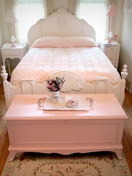 sweet bedroom - love the pink cedar chest and chenille bedspread.