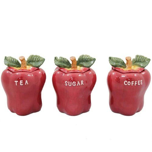 Kitchen Apple Collection   Apple Canisters: Red Apple Collection Kitchen  Canister 3 Piece Set