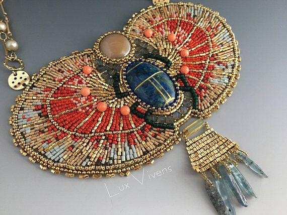 Egyptian Scarab Necklace  Suspended Bead Embroidered Large