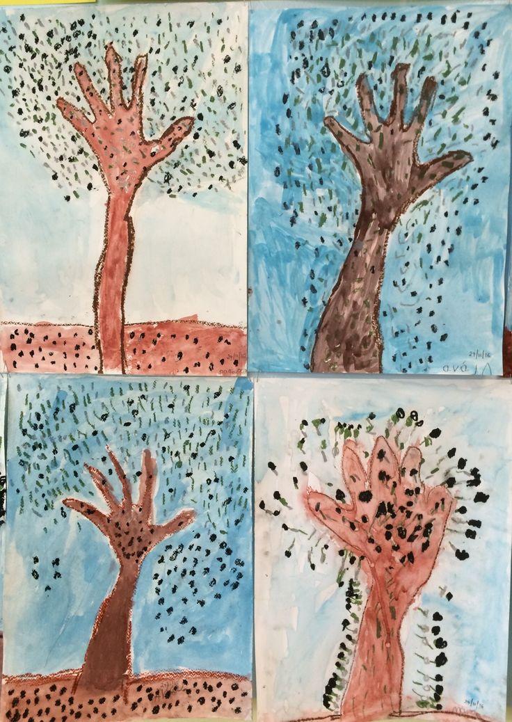 Η ελιά: Ο κορμός είναι το περίγραμμα του χεριού των παιδιών. Το σχηματίζουν με μολύβι και το περνούν με λαδοπαστέλ, με τα οποία ζωγραφίζουν τα φύλλα και τις ελιές. Γεμίζουν περιγράμματα και φόντο με νερομπογιές - Νηπιαγωγείο Καλλιθέας Ηρακλείου