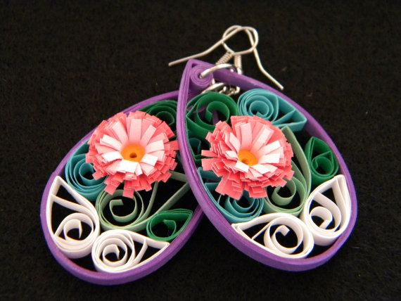 Medium Paper Quilled Earrings with Pink by ParchmentPerfection
