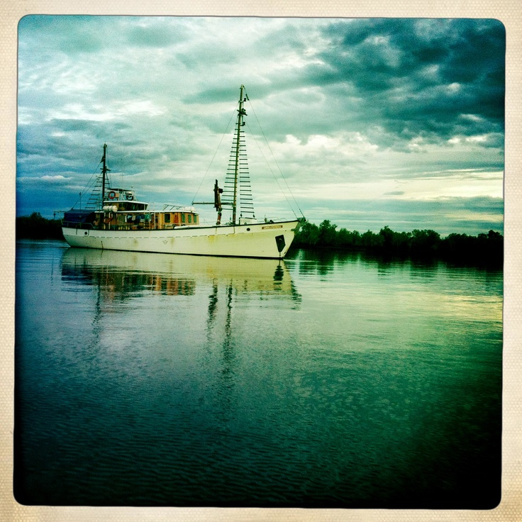Expedition vessel, Angra Pequena, sheltering amongst mangroves in Maputo, Mozambique, 2012. Available for expedition and research charters. Contact jmharris@iafrica.com