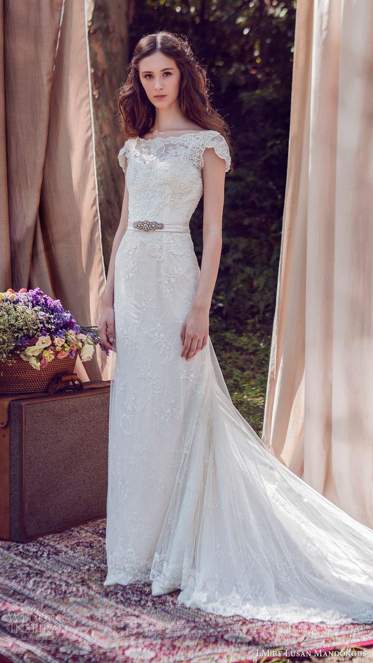lm lusan mandongus bridal 2017 cap sleeve illusion bateau neck lace sheath wedding dress (lm3027b) mv train