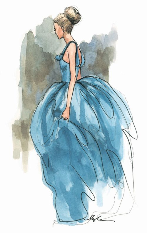 cinderella-like watercolor