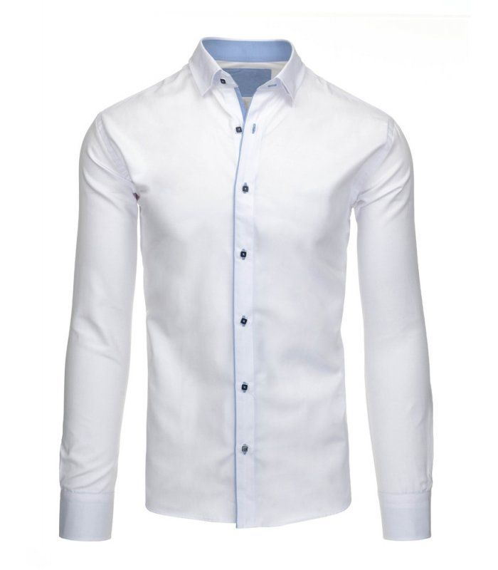 Elegantá biela pánska košela s dlhými rukávmi
