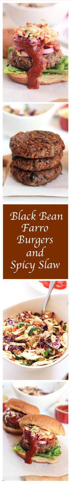 Simply delicious and full of flavor, you have to give this Black Bean Farro Burger a try, and serve it with this super tasty Spicy Slaw. Let's talk vegg