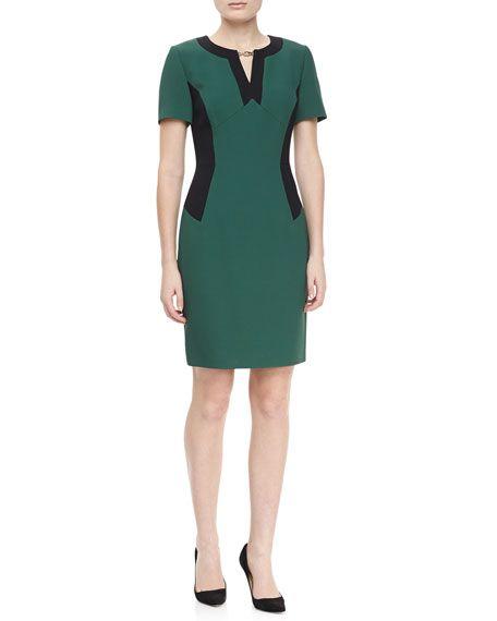 Short Sleeve Colorblock Locket Dress, Emerald/Green