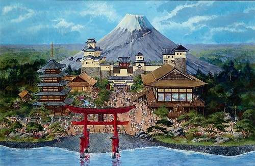 Japan Pavillion (with Mount Fuji), EPCOT Center, Walt Disney World (never built)