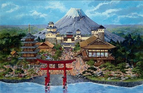 Japan Pavillion (with Mount Fuji), EPCOT Center, Walt Disney World (never built)