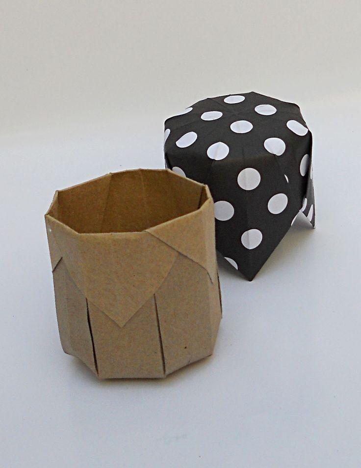 mas origami: Cajitas cilíndricas