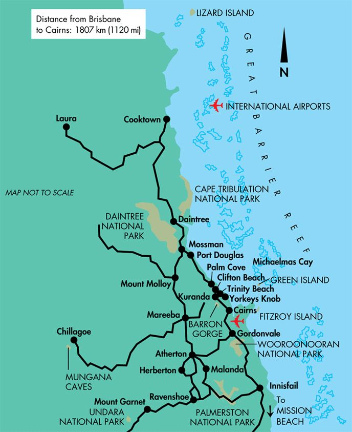 Map showing from Cairns to Cooktown