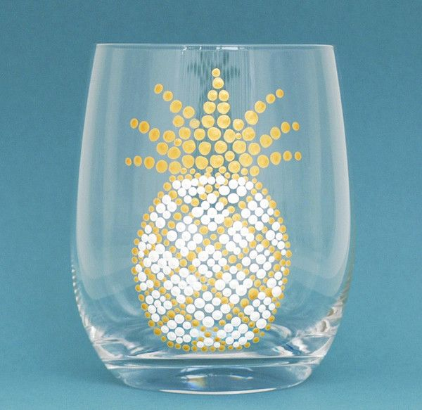 Tropical Pineapple Glassware - White & Gold Hand Painted Stemless Wine Glasses by Alyssa Reuven. Stemless wine glasses with hand painted pineapples are sure to delight guests and add a tropical touch