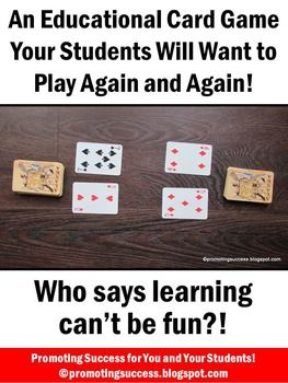 FREE Math Games with a Deck of Cards - In this packet, you will receive photo directions for an educational math game with a deck of cards. Students will use addition or subtraction in a modified Game of War.