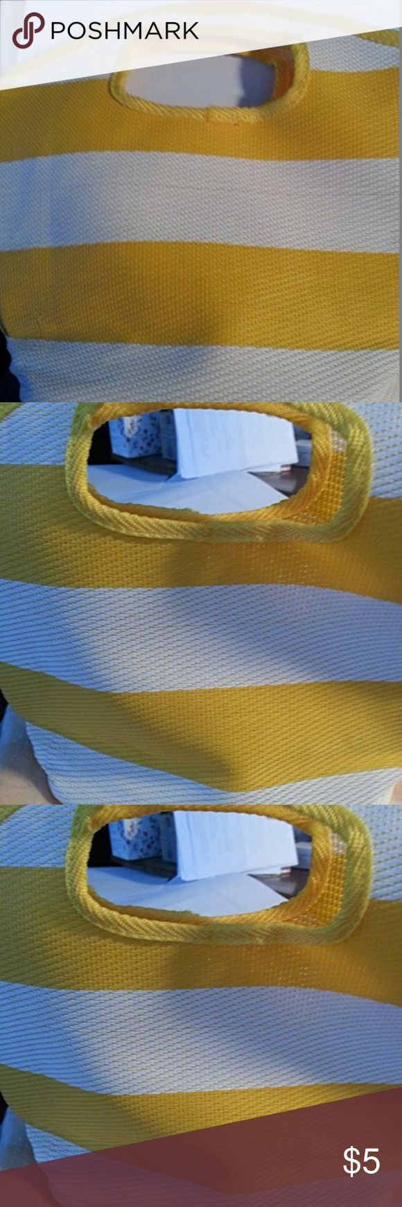 """AVON YELLOW & WHITE NYLON WOVEN NATURALS TOTE BAG New in  Sealed Package. Discontinued tote bag. Yellow & White Stripe Nylon Woven texture Tote Bag  Measures: 10"""" x 10"""" x 3"""" Avon Bags Totes"""