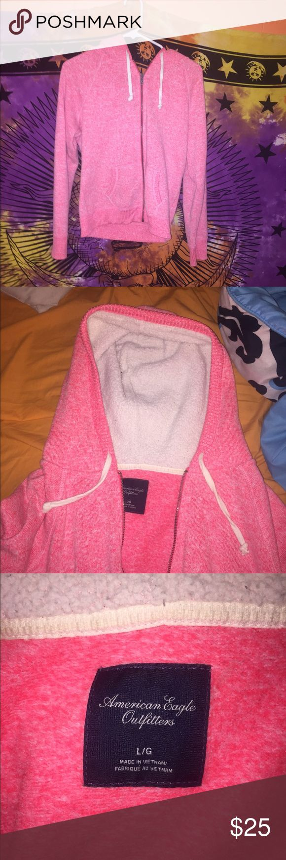 Pink zip up sweatshirt Super warm and great for fall weather! Fuzzy white hood. American Eagle Outfitters Tops Sweatshirts & Hoodies