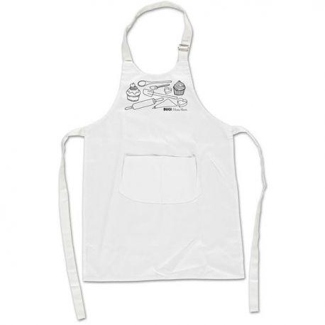 Dansk designet forklæde i børnestørrelse med håndtegnet motiv med kager og bageredskaber. Se det lige her!