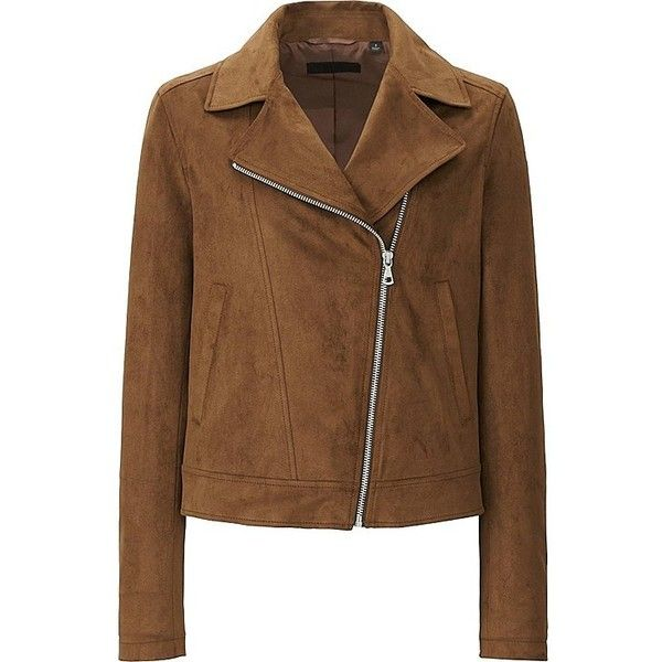 WOMEN FAUX SUEDE MOTO JACKET ❤ liked on Polyvore featuring outerwear, jackets, uniqlo jacket, faux suede moto jacket, faux suede biker jacket, brown biker jacket and rider jacket