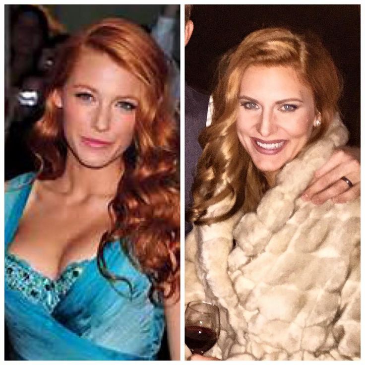 Blake Lively served as my inspiration this week for a nice break from my usual blonde.  That is me at a wedding on the right! #redhair #ginger #strawberry #hairstylist #retro #waves #vintage #hairstyle #austinstylist