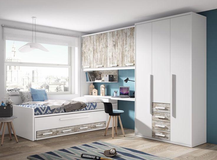 Dormitorio en color blanco poro y vintage, compuesto por compacto con cama desplazable oculta y...